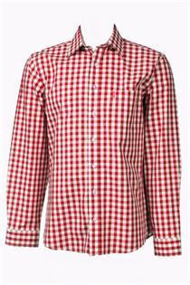 Trachtenhemd Regular Fit rot gross kariert Almsach - Gr.37/38