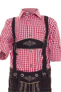 Trachtenhemd Regular Fit rot kariert - Gr.128