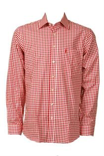 Trachtenhemd Regular Fit rot klein kariert - Gr.45/46