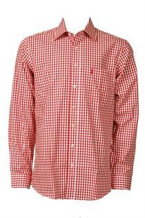 Trachtenhemd Regular Fit rot klein kariert - Gr.47/48