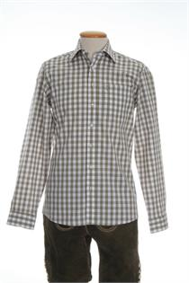 Trachtenhemd Regular Fit schlamm gross kariert - Gr.41/42