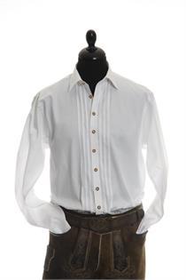 Trachtenhemd Regular Fit weiss mit Biesen - Gr.39/40