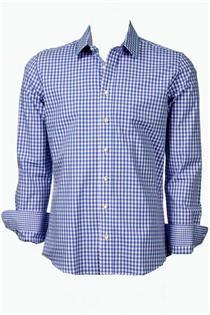 Trachtenhemd Slim Fit blau klein kariert - Gr. 43/44