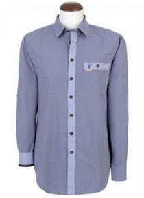 Trachtenhemd Slim-Fit dunkelblau kariert - M