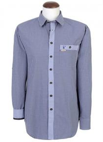 Trachtenhemd Slim-Fit dunkelblau kariert - XXXL