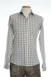 Trachtenhemd Slim Fit gross kariert beige - Gr.37/38