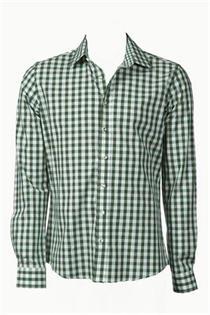 Trachtenhemd Slim Fit grün gross kariert - Gr. 37/38