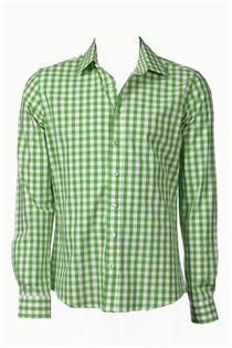 Trachtenhemd Slim Fit hellgrün klein kariert - Gr. 43/44