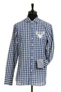 Trachtenhemd Slim Fit Langarm blau kariert - Gr.37/38