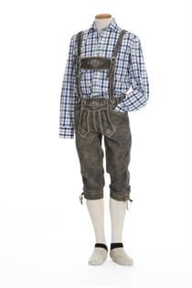 Trachtenhemd Slim Fit Langarm blau kariert - Gr.39/40