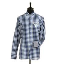 Trachtenhemd Slim Fit Langarm blau kariert