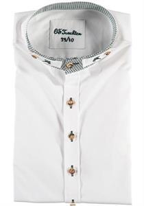 Trachtenhemd Slim Fit Langarm weiss mit Stehkragen - Gr.37/38