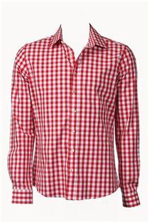 Trachtenhemd Slim Fit rot gross kariert - Gr.37/38