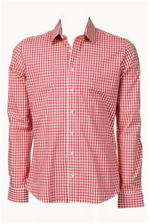 Trachtenhemd Slim Fit rot klein kariert - Gr. 39/40