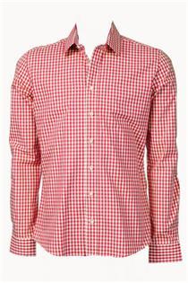 Trachtenhemd Slim Fit rot klein kariert - Gr. 43/44