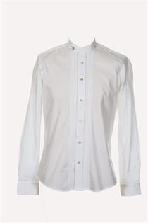 Trachtenhemd Slim Fit weiss mit Biesen und Stehkragen - Gr.43/44