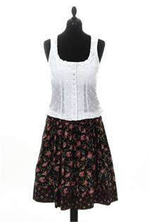 Trachtenrock schwarz mit Blumen - Gr.34