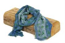Trachtenschal blau mit Hirschmotiv - 5 grün-rot
