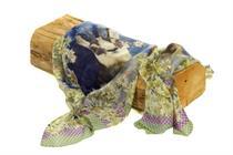 Trachtenschal mit Edelweiss und Gamsmotiv - 05 blau
