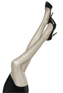 Trachtenstrumpfhose mit Ajourdesign ivory - L