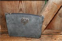 Trachtentasche mit Herz - grau
