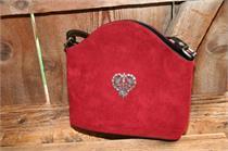 Trachtentasche mit Herz zum Umhängen - schwarz