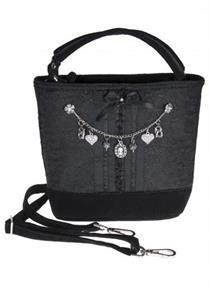 Trachtentasche schwarz mit Charivari - schwarz